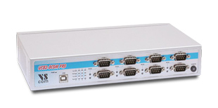 Vscom USB-8COM-PRO, an USB to 8 x RS232/422/485 serial port converter DB9 connector, rackmount chassis